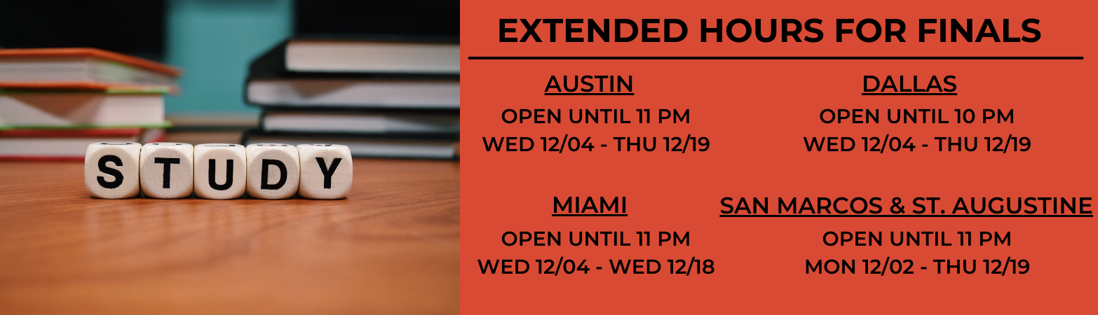 Extended library hours until 11pm for finals starting the week of December 2nd.
