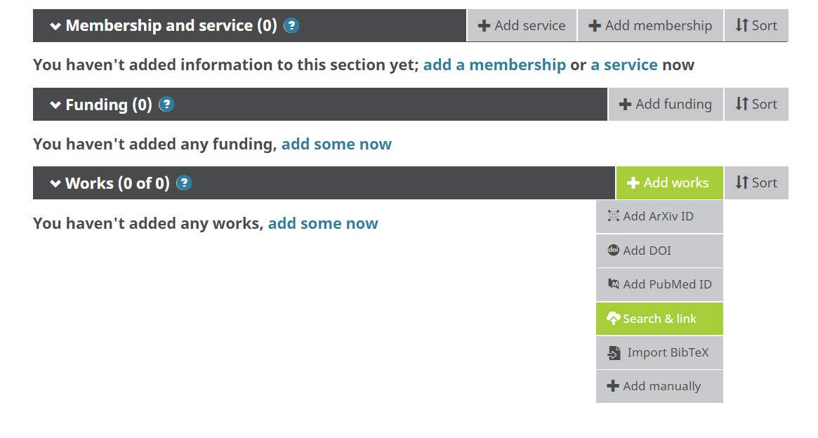 ORCID Search & Link screenshot