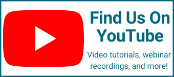 Find us on YouTube. Video tutorials, webinar recordings and more!