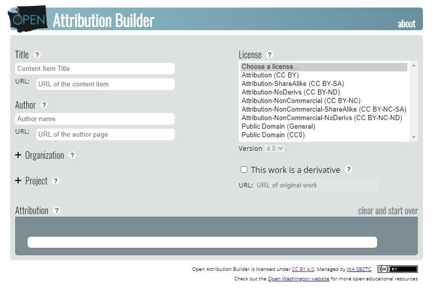 Open Attribution Builder
