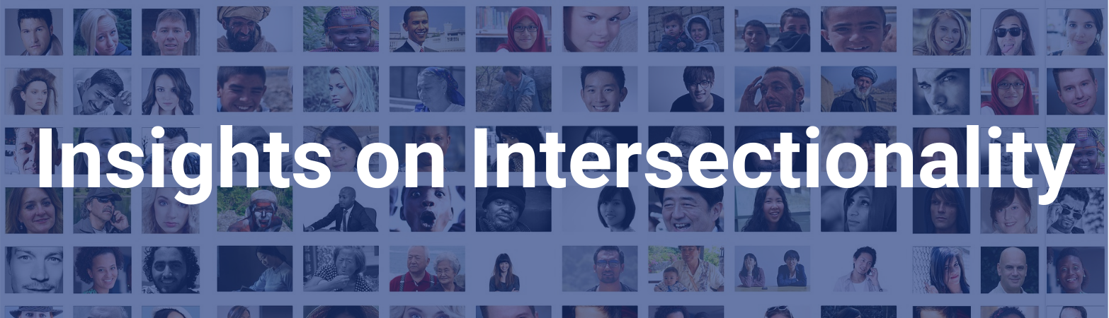 "Pictures of diverse peoples and persons. Text states, ""Insights on Intersectionality"""